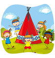 Children playing indians by the teepee vector image