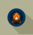 color icon of bright bonfire with firewood on dark vector image