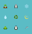 flat icons bear winter snow sprout and other vector image
