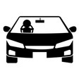 modern car with driver silhouette vector image