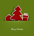 Christmas cards with pocket and tucked tree gift vector image