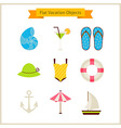 Flat Summer Vacation Objects Set vector image vector image
