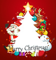 Merry Christmas card with Santa and tree vector image