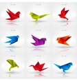 Origami paper bird on abstract background Set vector image