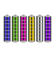 battery with charge indicator of different colors vector image