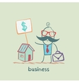 business man to sell house vector image