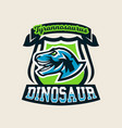 colourful emblem logo label the dinosaur of the vector image