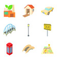 european town icons set cartoon style vector image