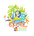 exotic logo original design beach holidays vector image