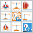 Lighthouse colors icons vector image