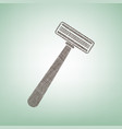 safety razor sign brown flax icon on vector image