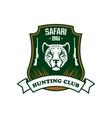 Safari hunting sport club sign vector image vector image