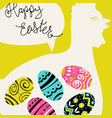 happy easter greetings bright eggs and chicken vector image vector image