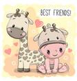 baby in a giraffe hat and giraffe vector image