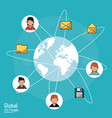 Poster of global people with light blue background vector image
