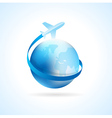 airplane flight air fly travel takeoff blue globe vector image