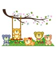 Bear family playing under tree branch in the park vector image