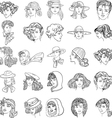 hand-drawn fashion model faces vector image vector image