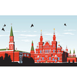Birds fly over Red Square vector image vector image