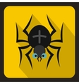 Black spider icon flat style vector image