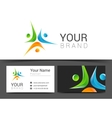 business card template with people icon vector image