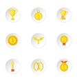 Championship icons set cartoon style vector image
