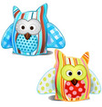 colored stuffed pillows owls isolated vector image