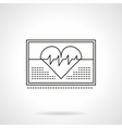 Heartbeat on monitor flat thin line icon vector image