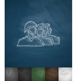 People in helmets icon Hand drawn vector image