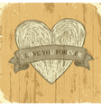 grunge heart with ribbon background vector image