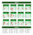 Template green Calendar 2017 year vector image