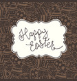 chocolate happy easter vintage greeting card vector image