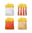 set of potatoes french fries vector image