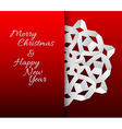 card with white paper christmas snowflake vector image vector image