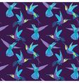 Hummingbird Background - Retro seamless pattern vector image