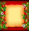 Christmas tree branches paper and red background vector image