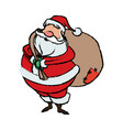 cartoon santa claus with big bag gifts for your vector image