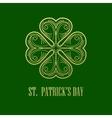 Golden Shamrock Patrick day simbol vector image