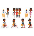 set of people during leisure activity vector image