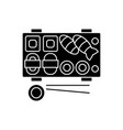 sushi icon black sign on vector image
