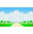 city skyscrapers with roadtree and grass vector image