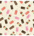 Different popsicles on brown background vector image
