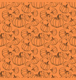 different pumpkin sizes on an orange background vector image