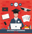 distance learning online education writing vector image