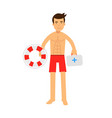 lifeguard man character on duty holding lifebuoy vector image