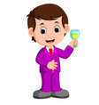 man with a glass of wine vector image