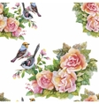 Seamless pattern with summer herbs and birds vector image