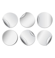Set of white round promotional stickers vector image