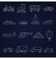 Transport icons outline set vector image