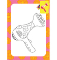 hair dryer toy coloring page copy vector image vector image